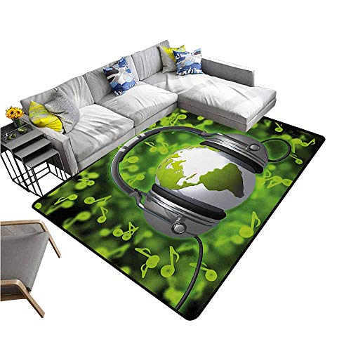 Kitchen Room Floor Mat Rug Colorful World,World of Music Themed Composition DJ Headphones Musical Notes and Earth Globe,Lime Green Grey 60