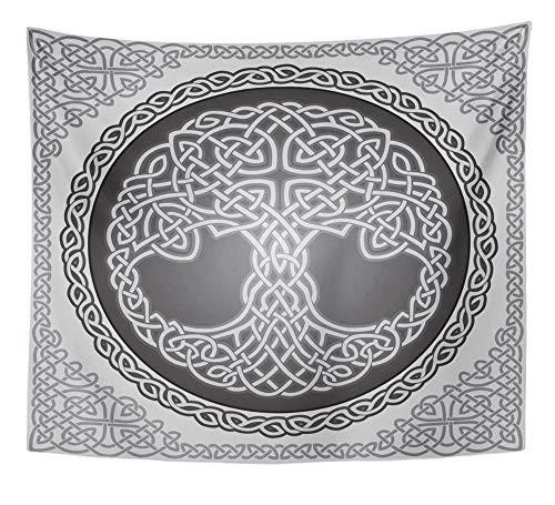 Emvency Tapestry Artwork Wall Hanging Knot Round Celtic Tree of Life with Border Black White 50x60 Inches Tapestries Mattress Tablecloth Curtain Home Decor Print