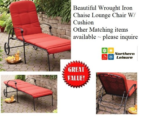 Outdoor Wrought Iron Chaise Lounge Chair W/ FREE Cushion ~ Wheels ~ Adjustable Position