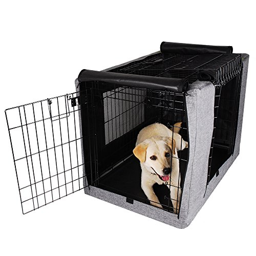 "Petsfit Crate Cover for 36 Inches Wire Crates,36"" Lx23 Wx25 H,Two Doors (Grey)"