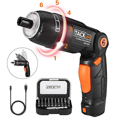 Electric Screwdriver, SDH13DC Cordless Rechargeable Screwdriver 3.6V 2.0Ah Lithium Ion Battery MAX Torque 4N.m, 3 Flexible Position and 6 Torque Setting, Front LED and Rear Flashlight ()
