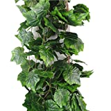 grapes decoration - Meiliy 8 Ft Artificial Greenery Chain Ivy Grape Leaves Vine Foliage Simulation Flowers Vine Grape Leaves Plants For Home Room Garden Wedding Garland Outside Decoration,Pack of 5