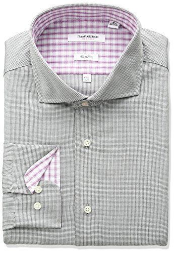 Isaac Mizrahi Men's Slim Fit Micro Check Cut Away Collar Dress Shirt, Black, 17.5