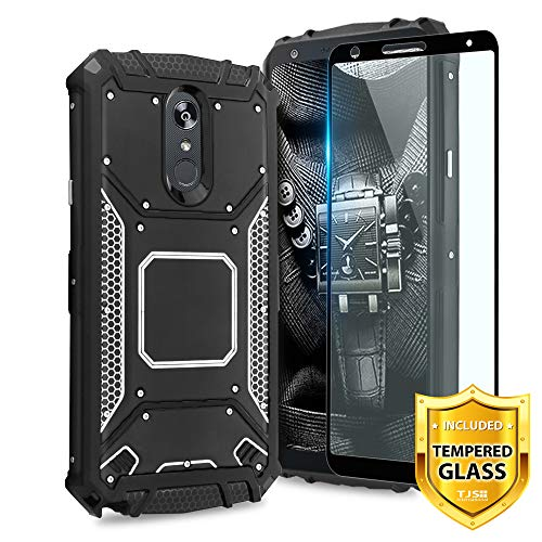 TJS LG Stylo 4 2018/LG Q Stylus Case, with [Full Coverage Tempered Glass Screen Protector] Aluminum Metal Premium Protection Shockproof Military Cover with Built-in Metal Plate Back (Metal Case Stylus)