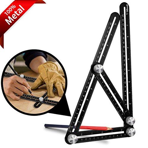 Multi Angle Measuring Ruler, Sibaok Premium Aluminum Alloy Metal Ultimate Angleizer Template Tool/Layout Tool Measurement for Handymen, Builders, Craftsmen, DIY-ers, Black by Sibaok