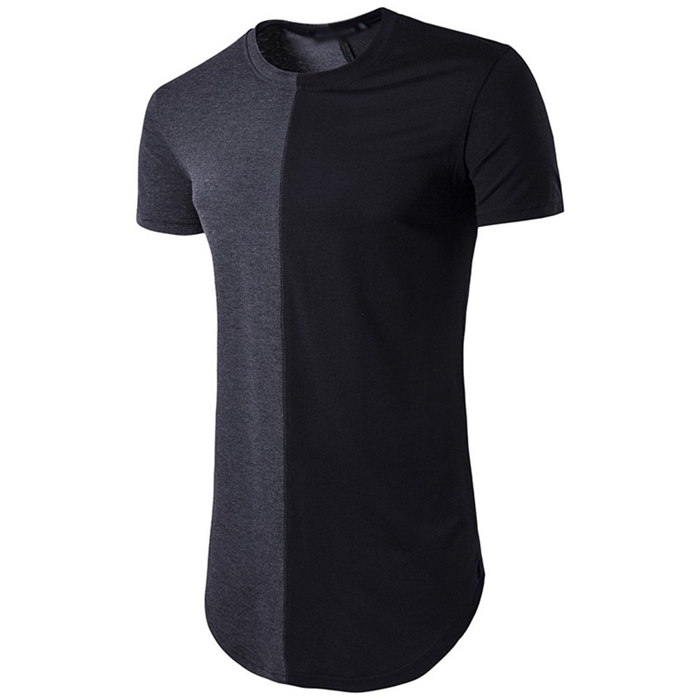 CHENGYANG Herren Stylische Lang T-Shirt Stitching Kurzarm Slim Fit T-shirt  Bluse: Amazon.de: Bekleidung