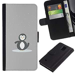 LECELL--Cuero de la tarjeta la carpeta del tirón Smartphone Slots Protección Holder For Samsung Galaxy Note 4 IV -- PINGÜINO MINIMALISTA LINDO --