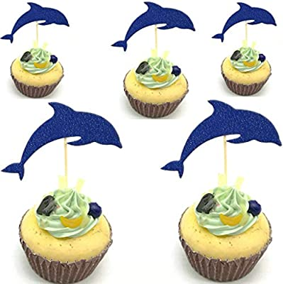 Peachy Hemarty Dolphin Cupcake Toppers Aquarium Cake Topper Under The Funny Birthday Cards Online Inifodamsfinfo