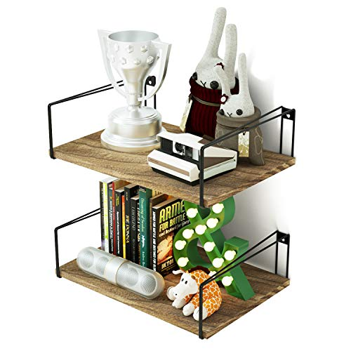 Cheap SRIWATANA Floating Shelves, Rustic Wall Mount Shelf Industrial Wood Wall Shelves with Large Storage, Set of 2