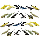 Fun Central (AZ913) 24 count 3 Inch Whale and Shark Toy Figure, Sea Creature Toys, Shark Toys for Boys for - Party Favors, Gifts, Prizes, Rewards, Giveaways – Assorted 2 Packs of 12pc