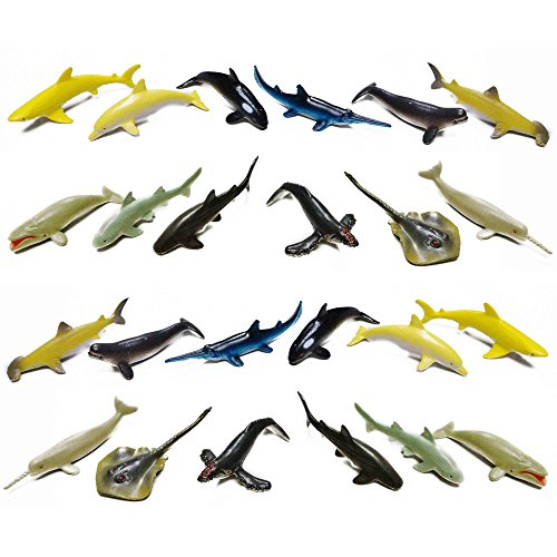 Fun Central AZ913 2 Packs of 12 Pieces 3 Inch Whale and Shark Toy Figure, Assorted Sea Creature Toys, Ocean Animal Planet Toys, Shark Boy Toys, Shark Toy Set for -