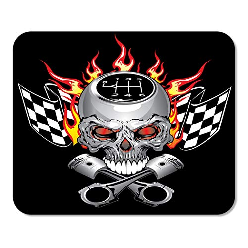 Suike Mousepad Computer Notepad Office Car Race Skull Piston Decal Flame Graphic Cross Fire Home School Game Player Computer Worker 9.5x7.9 -