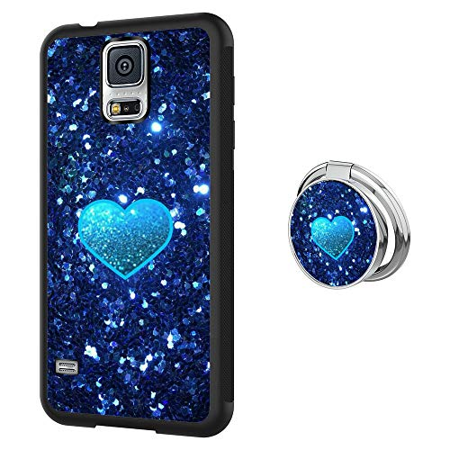 f23f5b0794476 RappA Custom Made Samsung Galaxy S5 Blue Bling Heart Case with Ring Holder  Stand with Ring Buckle for Easy Carrying Protects Mobile Phone Shock Phone  ...