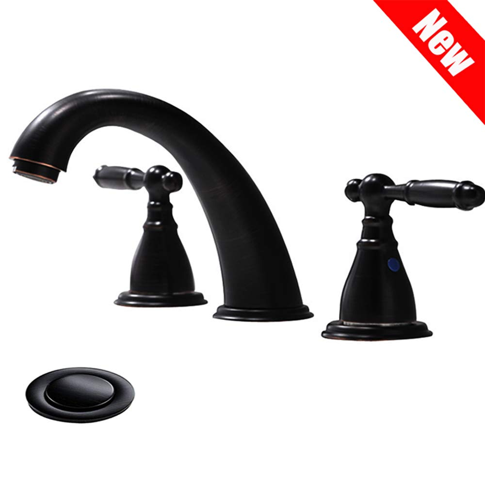 3 Hole Lavatory 2 Handles Oil Rubbed Bronze Widespread Bathroom Faucet By Phiestina,Hot and Cold Water Vessel Faucets With Matching Pop Up Drain, WF008-4-ORB by Phiestina