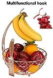 RosyLine Fruit basket, household fruit bowl, decorative display rack, multi purpose storage basket, home decoration (Rose gold)