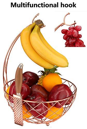 - RosyLine Fruit basket, household fruit bowl, decorative display rack, multi purpose storage basket, home decoration (Rose gold)