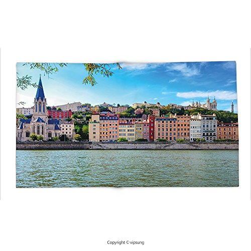 Custom printed Throw Blanket with European by Lyon City Village France with Colorful Historical Cathedral by River Panorama Multicolor Super soft and Cozy Fleece Blanket