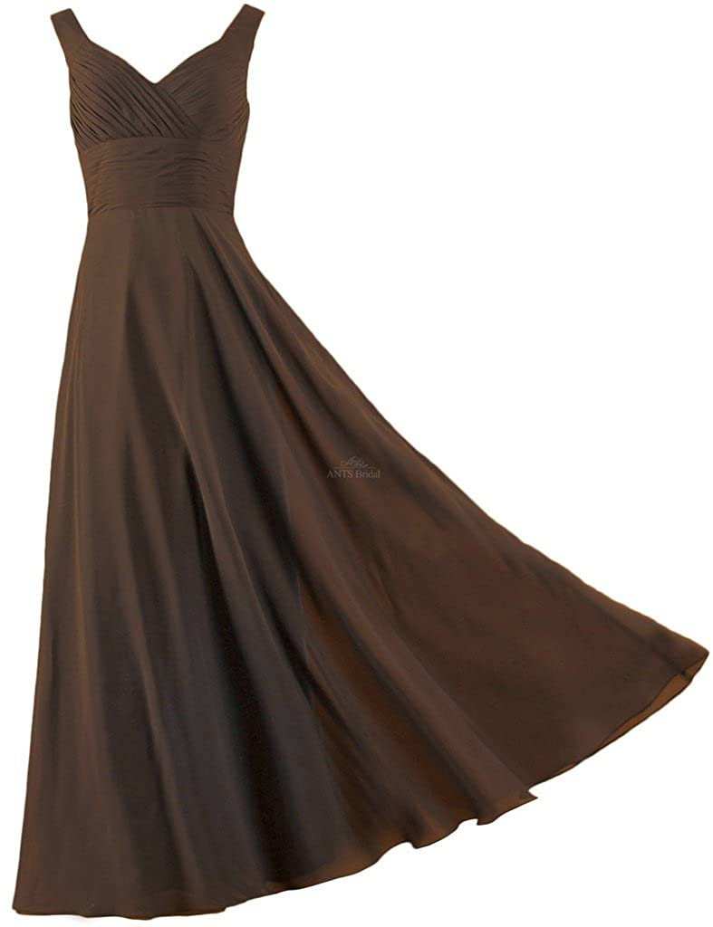 ANTS Formal Straps Pleated Long Straight Bridesmaid Dresses Prom Homecoming T841-MFN