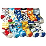 Assorted Designs Crew Baby Toddler Child Non-Skid Socks (2-3 Years Old Baby Wear) For Xmas Halloween Gift Pack of 12 pair