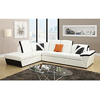Major Q Sienna Sectional Sofa With White And Black Bonded Leather Match