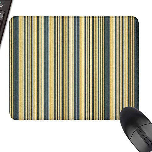 Gaming Mouse pad Geometric,Barcode Style Pattern in Retro Colors Straight Parallel Vertical Lines, Yellow Dark Bluegrey Comfortable Mousepad 9.8 x11.8 INCH ()
