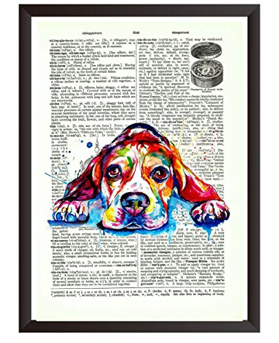 - Upcycled Vintage Dictionary Art Print Poster on antique Vintage dictionary page Art Book Wall Poster 7.5 x 10.5 inch (Dog Frame Not Included)