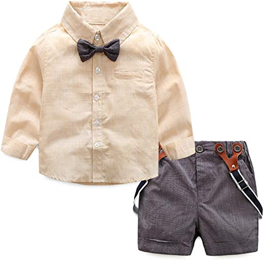 6 Years 12 Months DAIMIDY Baby /& Little Boys T Shirt and Suspender Shorts Set