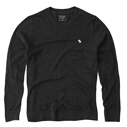 Merino Wool Blend Sweater (Abercrombie Men's Icon Crew-Neck Merino Wool Blend Sweater, S, Dark Grey)