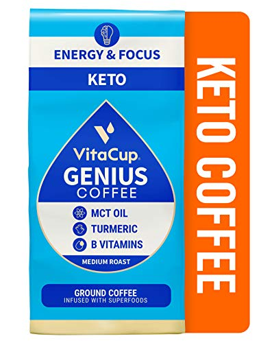 Vitacup Genius Coffee Ground w/ KETO MCT Oil, Turmeric, Cinnamon, & Vitamin for Energy, Focus, & Keto Diet for Drip Coffee Brewers & French Press
