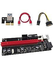 Anupow Pci-e Riser Card Express Kabel 1X naar 16X Grafische Verlengkabel Ethereum ETH Mijnbouw Aangedreven Riser Adapter Kaart+6Pin SATA Power Kabel+60 cm USB 3.0 Verlengkabel