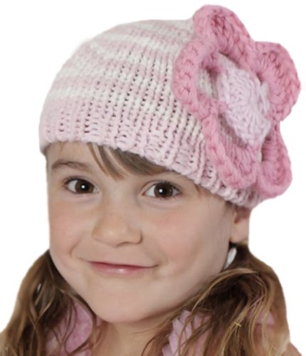 Melondipity Girls Strawberry Bubble Gum Striped Flower Baby Hat - Premium Knit (0-6 Months) ()
