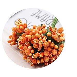 SHEEP YANG Artificial Flower Stamen Wire stem DIY Wreath Wedding Box Decoration Wedding Decoration Flower,Orange 95