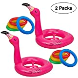 90shine Flamingo Inflatable Ring Toss Game - Pool Party Toys/ Kids Supplies/Luau Decorations