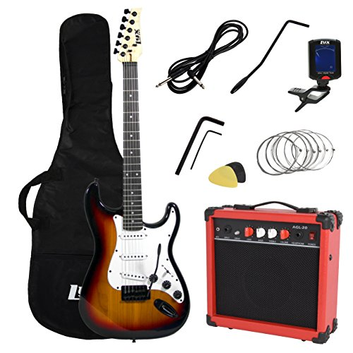 LyxPro Full Size Electric Guitar with 20w Amp, Package Includes All Accessories, Digital Tuner, Strings, Picks, Tremolo Bar, Shoulder Strap, and Case Bag Complete Beginner Starter kit Pack,Sunburst -