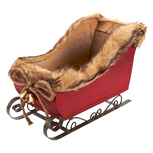 Juvale Santa Sleigh - Indoor Christmas Decoration - Perfect as Artificial Flower Arrangement Container, Table Centerpiece, Candy Bowl, Home Decoration, 12.2 x 8.5 x 6.5 Inches