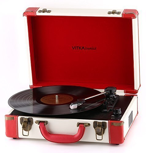 Vitkatronics Red & White Portable Turntable Suitcase USB Record Player Ambassador