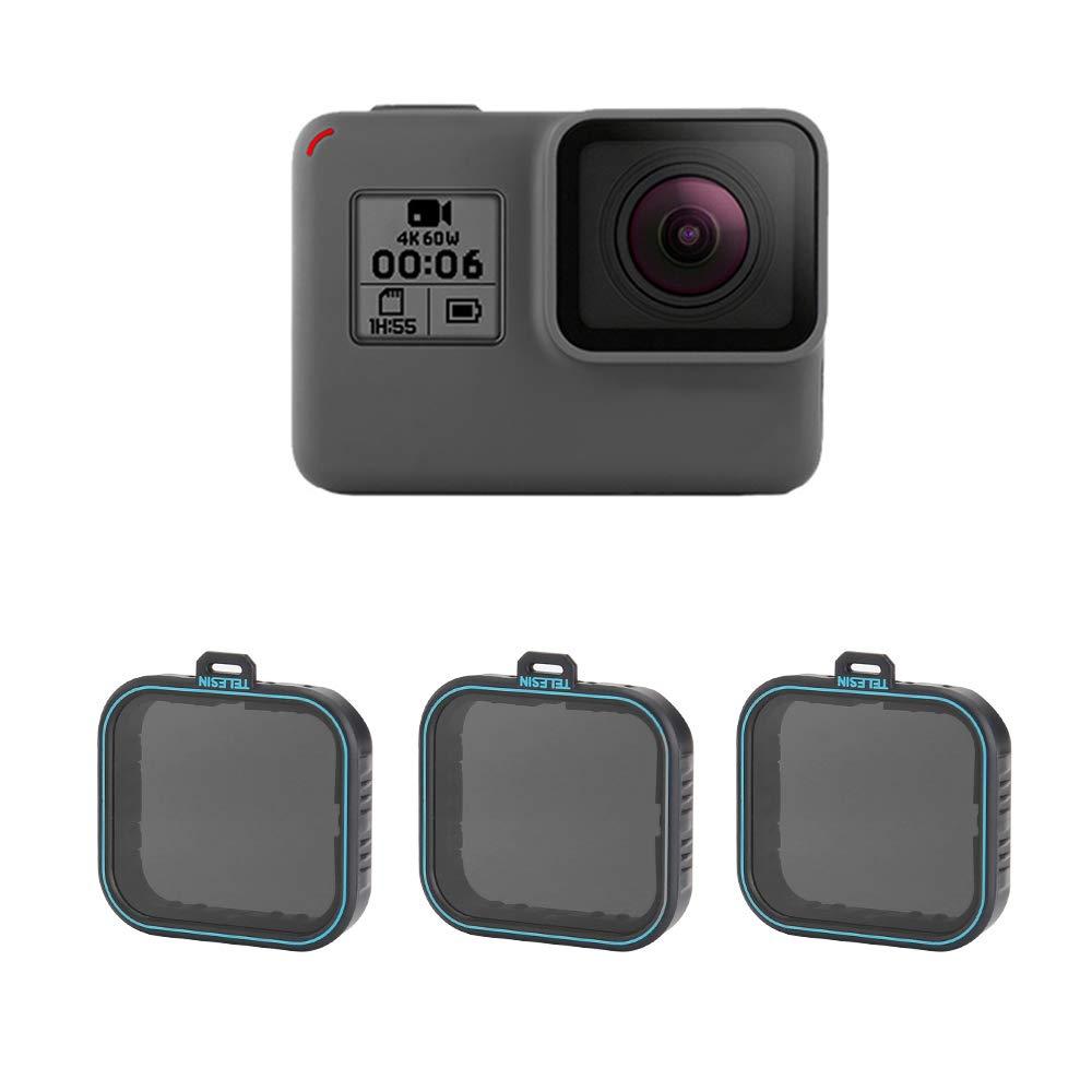 TELESIN Neutral Density Filter ND Filters Set, ND4 ND8 ND16 Lens Filter Pack of 3 for GoPro Hero 2018, Hero 5, Hero 6 Camera Lens (ND4/8/16)