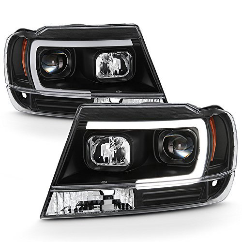 ACANII - For Blk 1999-2004 Jeep Grand Cherokee OPTIC LED Tube Projector Headlights Headlamps Driver & Passenger Side