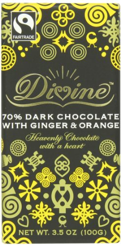 Divine Chocolate Bar, Dark Chocolate with Ginger and Orange, 3.5 Ounce (Pack of 10) ()