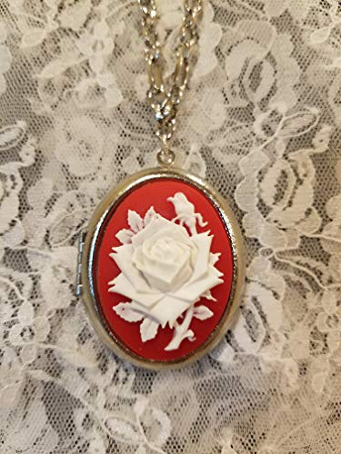 Red and White Rose Cameo Locket Necklace Silvertone