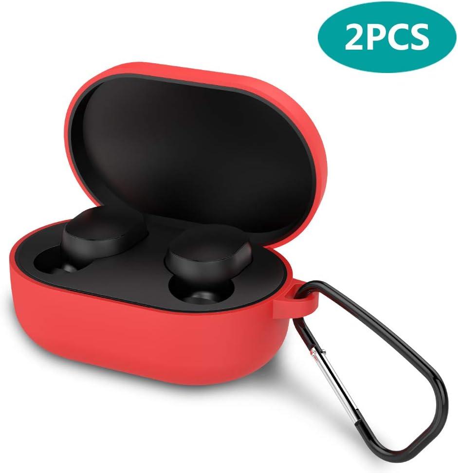 GeeRic Estuche Compatible para Xiaomi Mi True Wireless Earbuds 2019, 2PCS Kit Accesorios Protector Funda Auriculares Silicona Compatible para Xiaomi Redmi Airdots Certificado Regalo Impermeable Rojo
