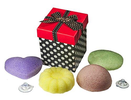 set-of-4-100-pure-konjac-sponges-in-lavender-green-tea-lycopene-lemon-sponges-arrive-in-adorable-red