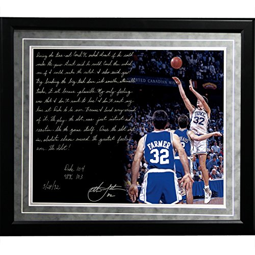 NCAA Duke Blue Devils Framed 16x20 Christian Laettner Facsimile 'The Shot' Story Photo by Steiner Sports