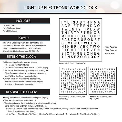 Sharper Image Light Up Electronic Word Clock, Copper Finish with LED Light Display, USB Cord and Power Adapter, 7.75in… 6