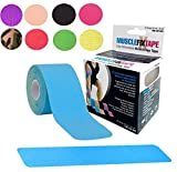 Blue MUSCLE FIX Support Athletic Sports Injury Recovery Kinesiology Therapy Tape Pre Cut KT PRO Kinesio Roll (20 Strips 10 in X 2 In / 25 cm x 5 cm) for Shoulder Neck Lower Back