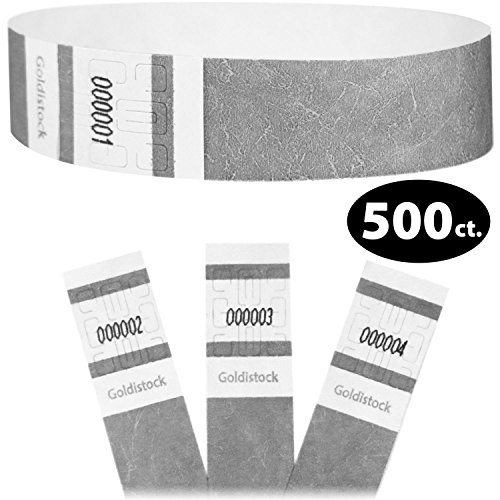 Parks Silver Series - Goldistock Select Series- Tyvek Wristbands Metallic Silver 500 Count - 3/4