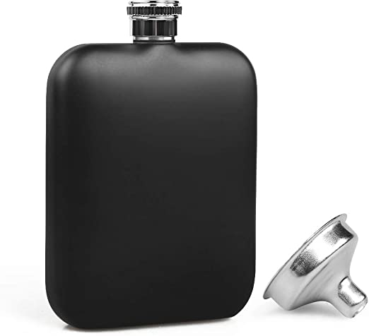 Amazing New Hip Flask 5oz Brush Stainless Steel /& Black Leather Effect Whisky
