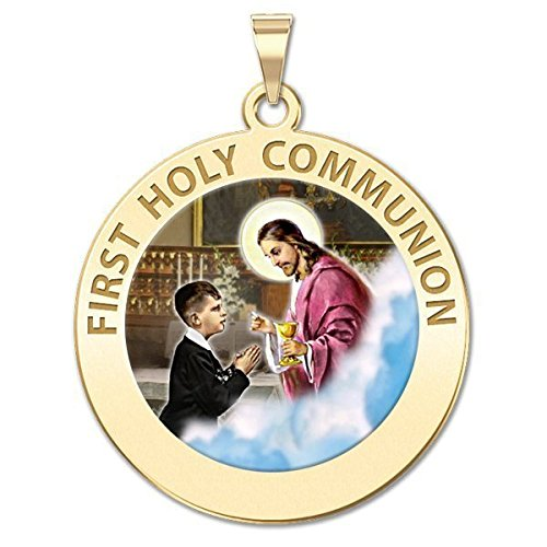 PicturesOnGold.com First Holy Communion Religious Medal (for a Boy) Color - 3/4 Inch Size of a Nickel -Sterling ()