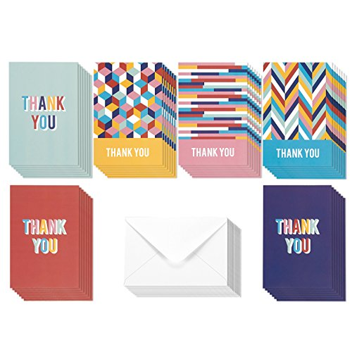 48 Assorted Pack Thank You Note Cards - Bulk Box Set - Blank on the Inside - Bright Colorful Geometric Designs - Includes 48 Greeting Cards and Envelopes - 4 x 6 Inches