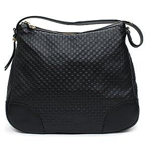 4e9caa7127351f Gucci Emily Micro GG Guccissima Black Leather Shoulder Handbag Bag New
